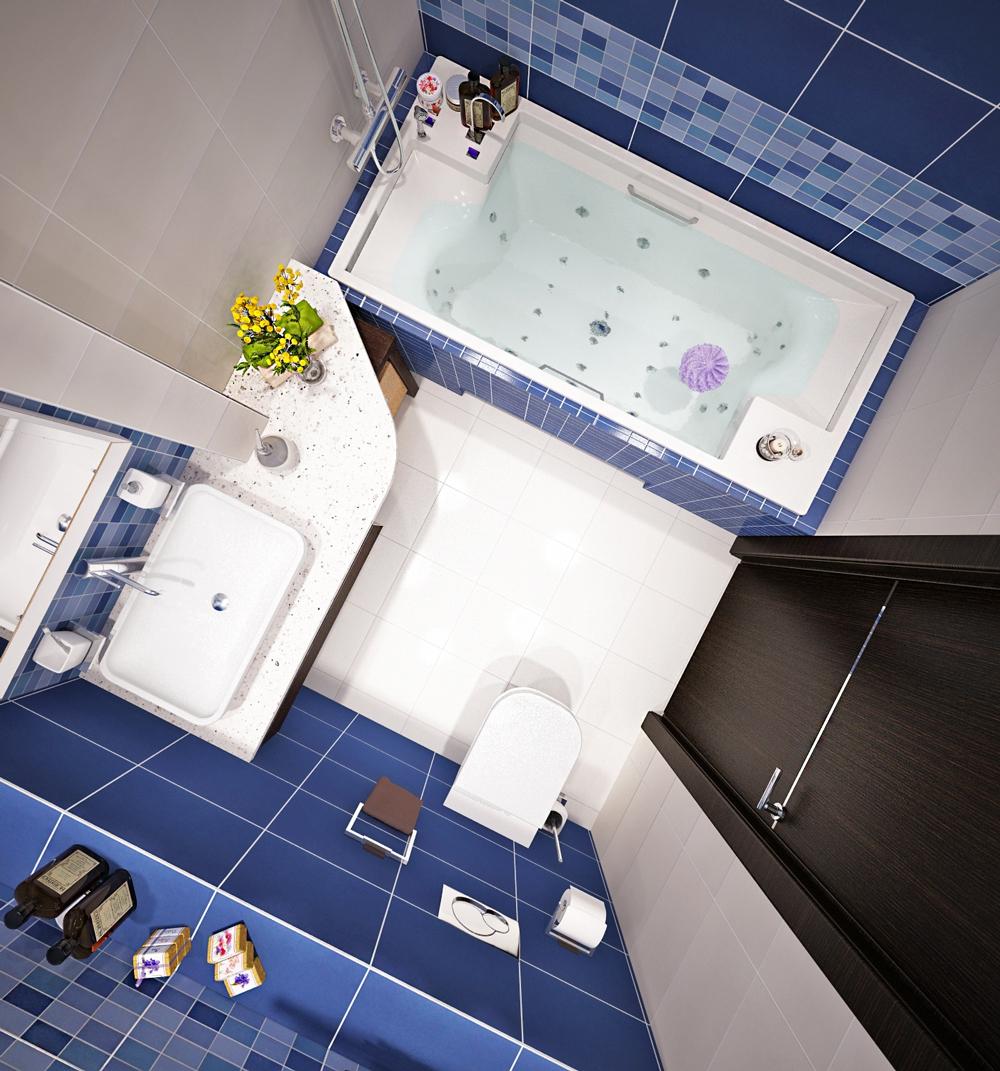 Квадратная ванная комната синего цвета