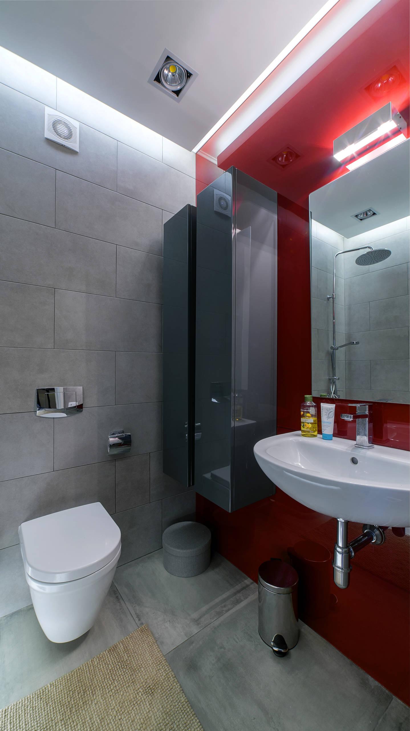 Темно-серые стены в ванной комнате