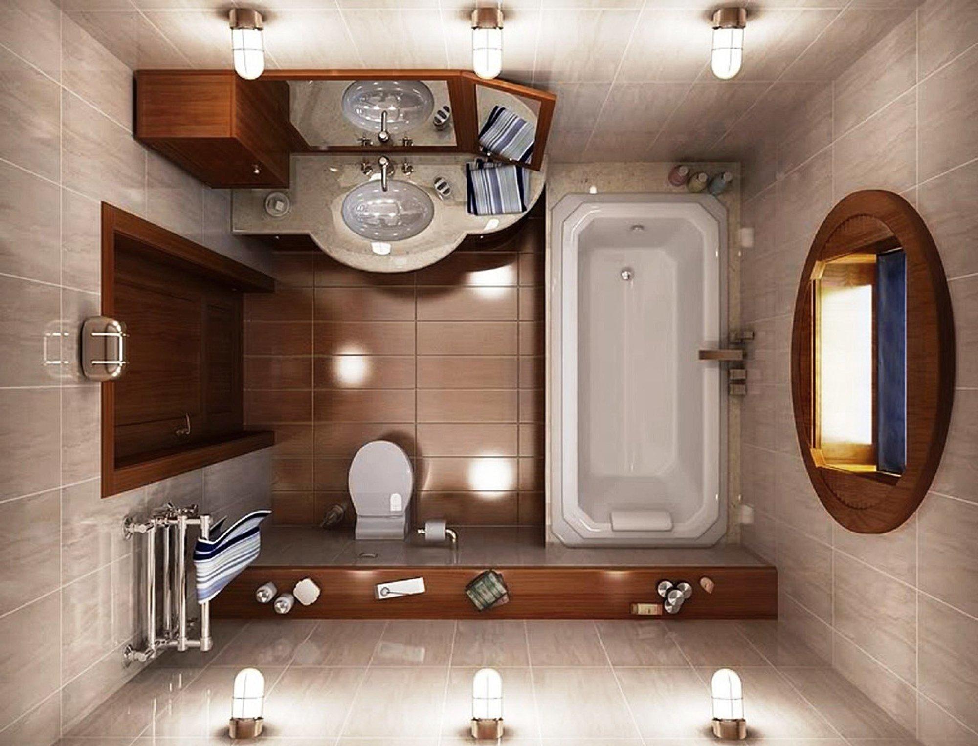 Квадратная ванная комната в коричневых тонах с деревянными аксессуарами