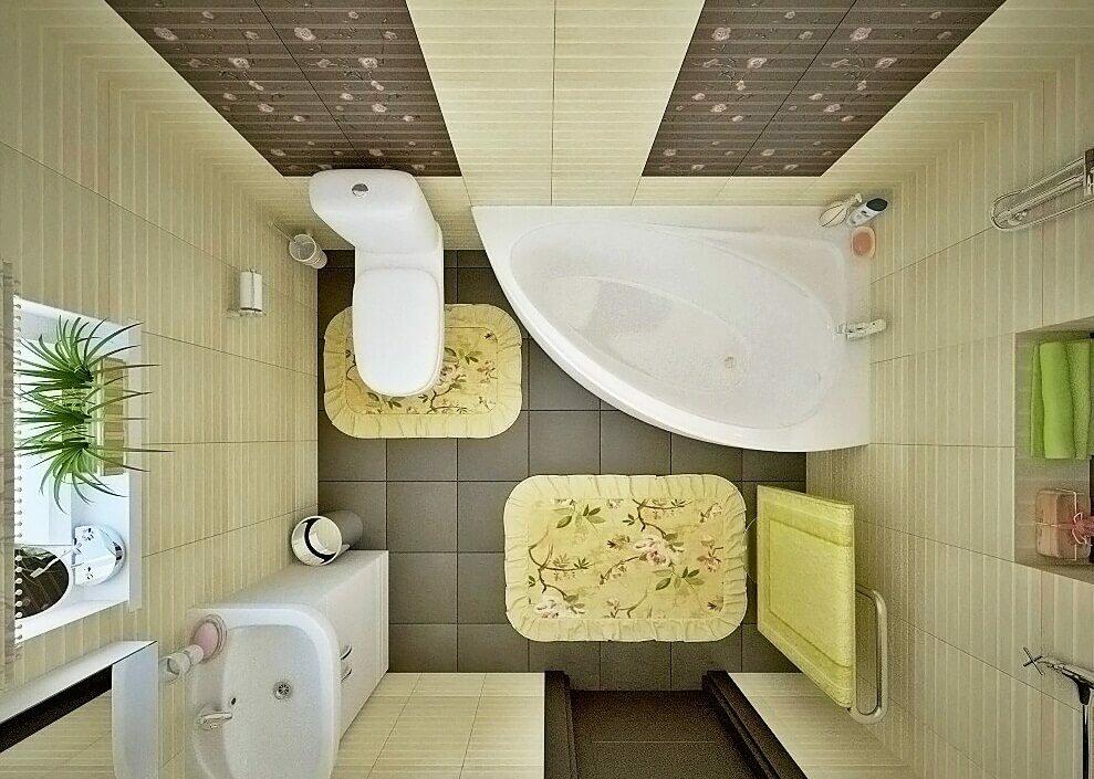 Квадратная ванная лимонных тонов