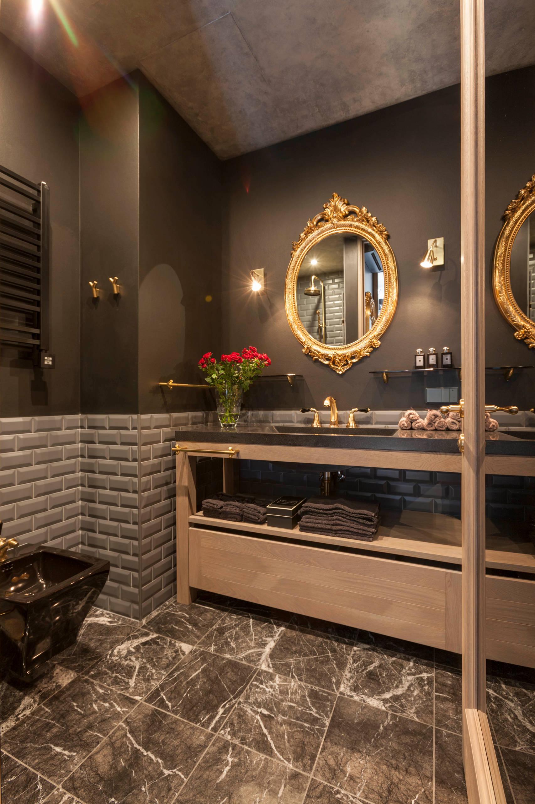Темно-коричневые стены и пол в ванной комнате