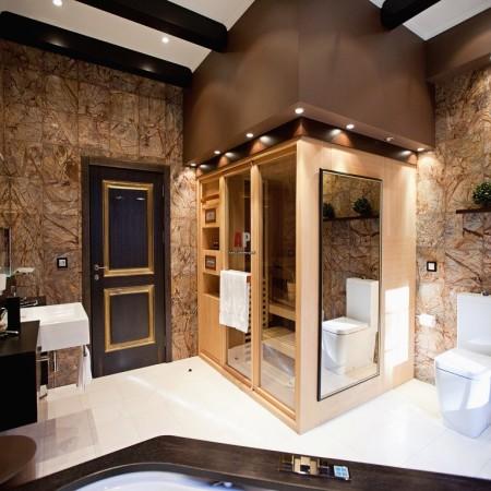 Дизайн просторных ванных комнат Ванная комната в фиолетовом цвете. Как сделать