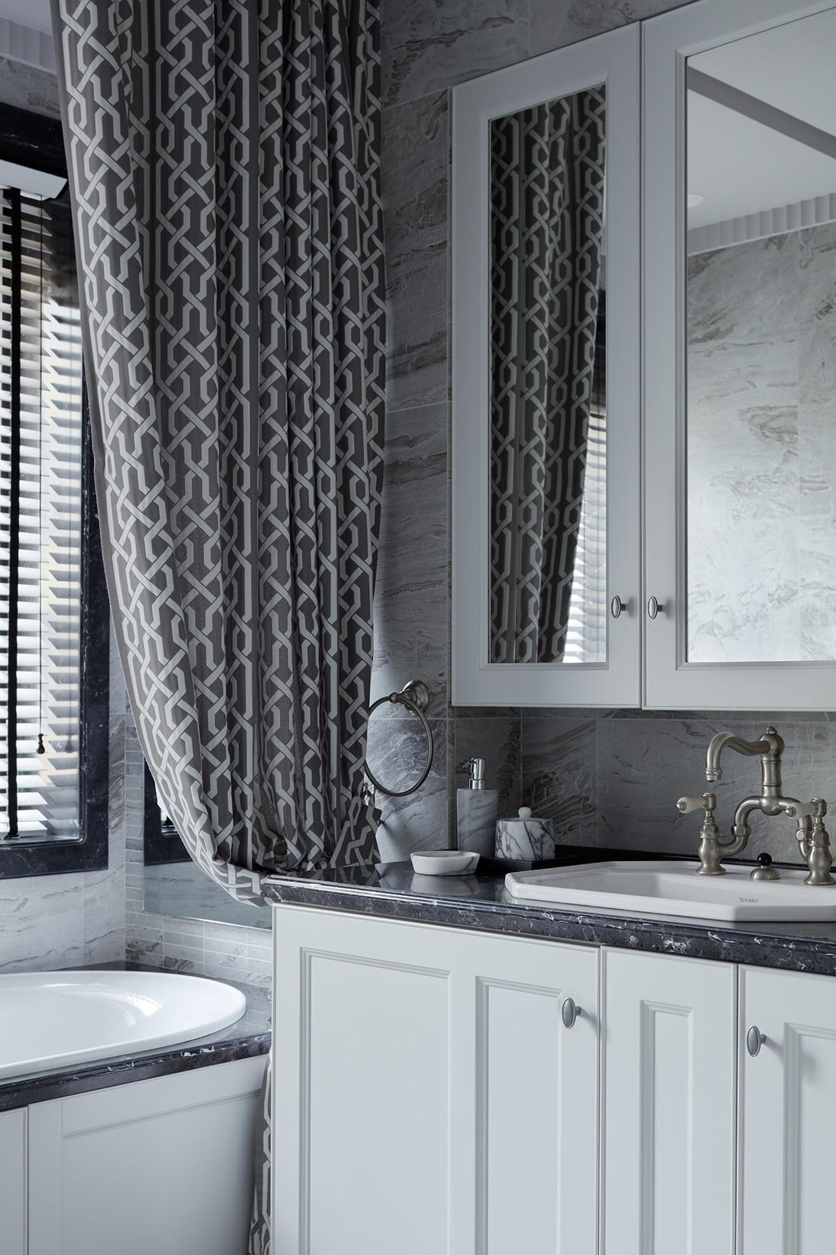 Дизайн ванной в темно-серых тонах