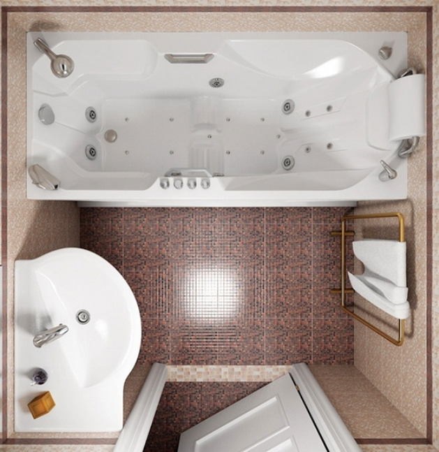 Дизайн маленькой ванной комнаты без туалета
