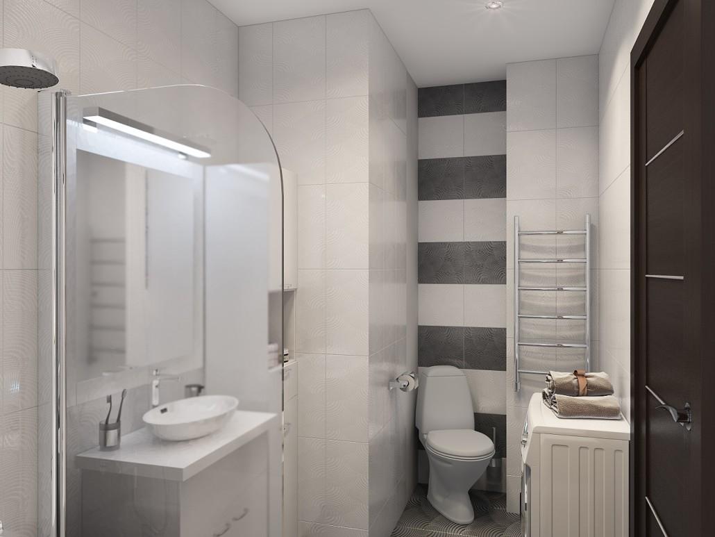 Дизайн маленькой ванны с туалетом и стиральной машиной
