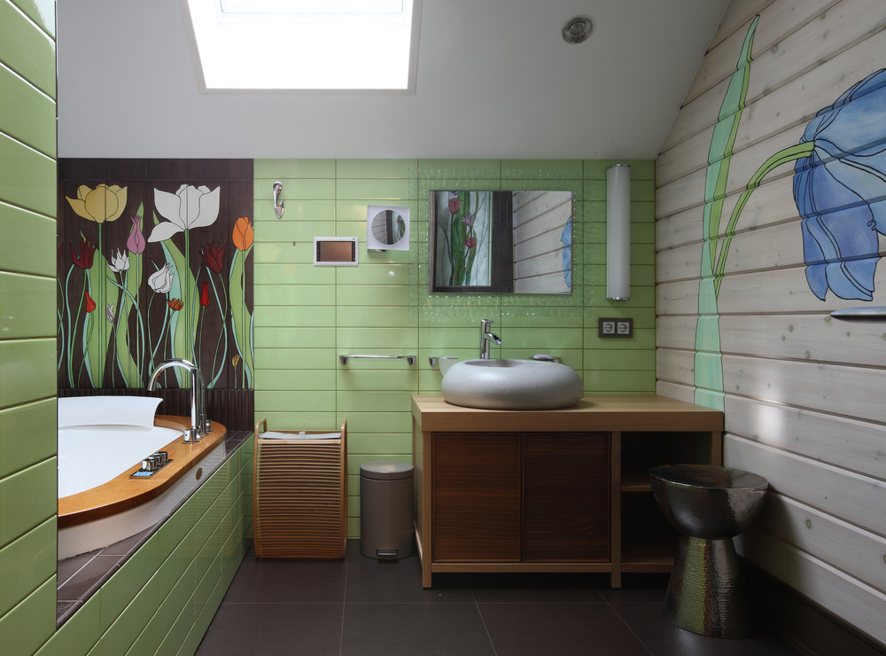 Дизайн ванной комнаты в загородном доме фото
