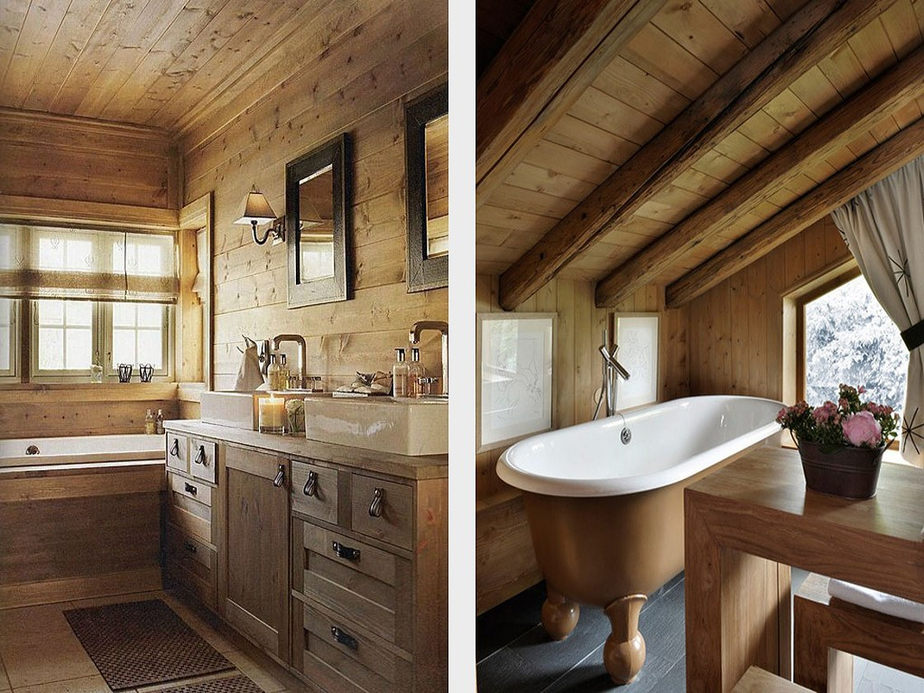 Bathroom in a wooden house photo