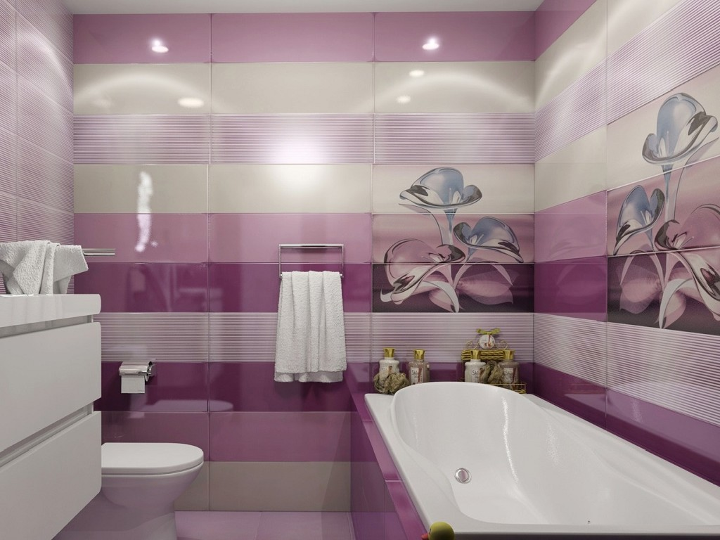 фиолетовая плитка для ванной комнаты фото