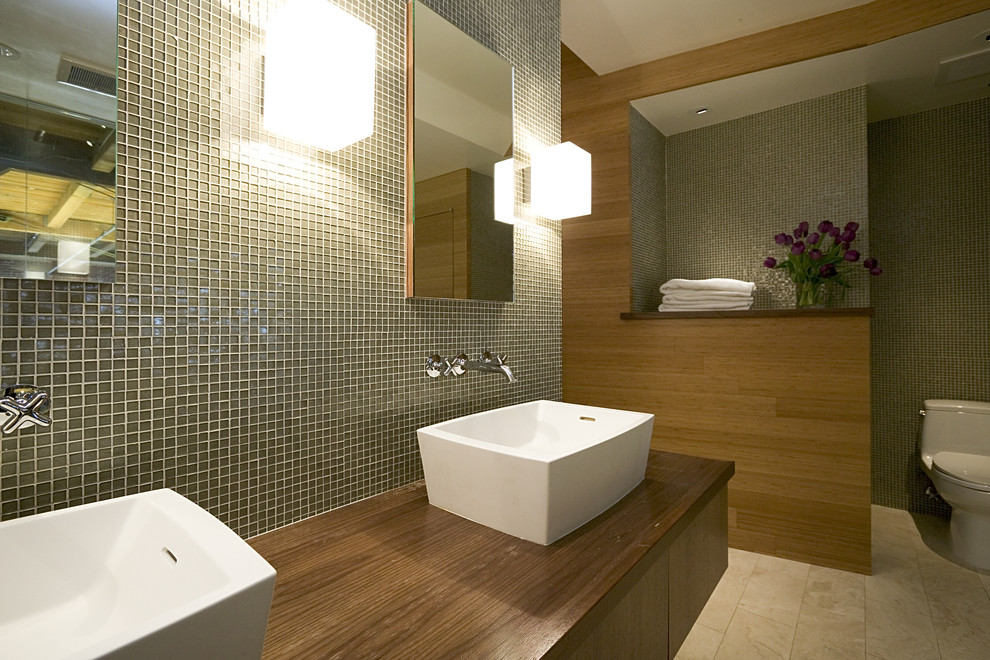 Плитка в ванной оливкового цвета