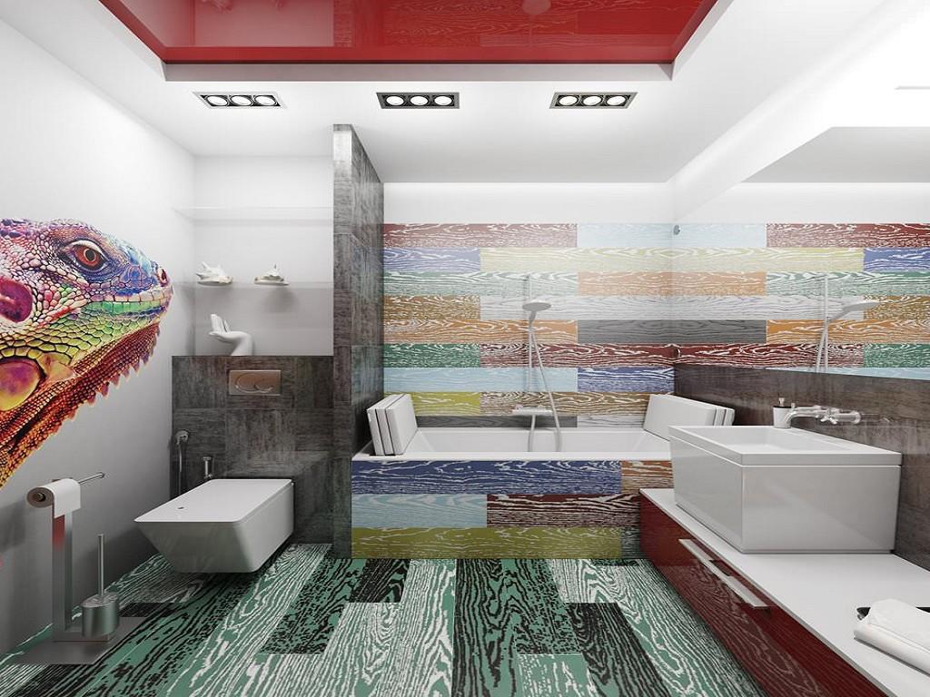Ванная в красном белом цвете дизайн