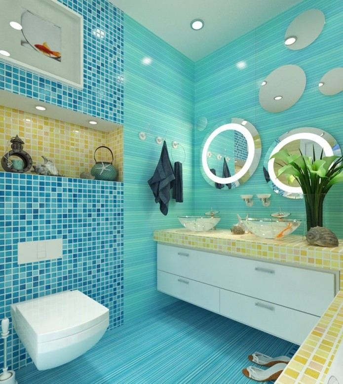 морские ракушки в ванной
