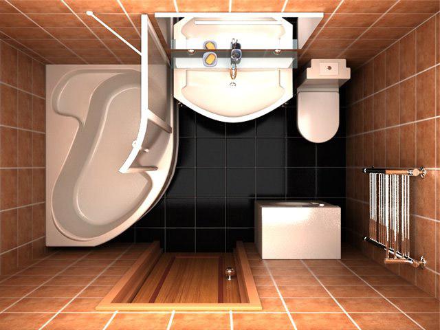 совмещенный санузел с угловой ванной фото