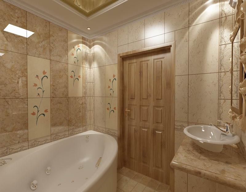 Интерьер ванной комнаты совмещенной с туалетом в классическом стиле