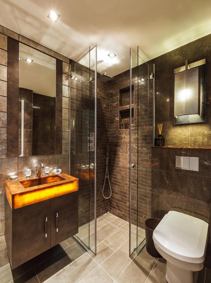 дизайн ванной комнаты в коричневом цвете
