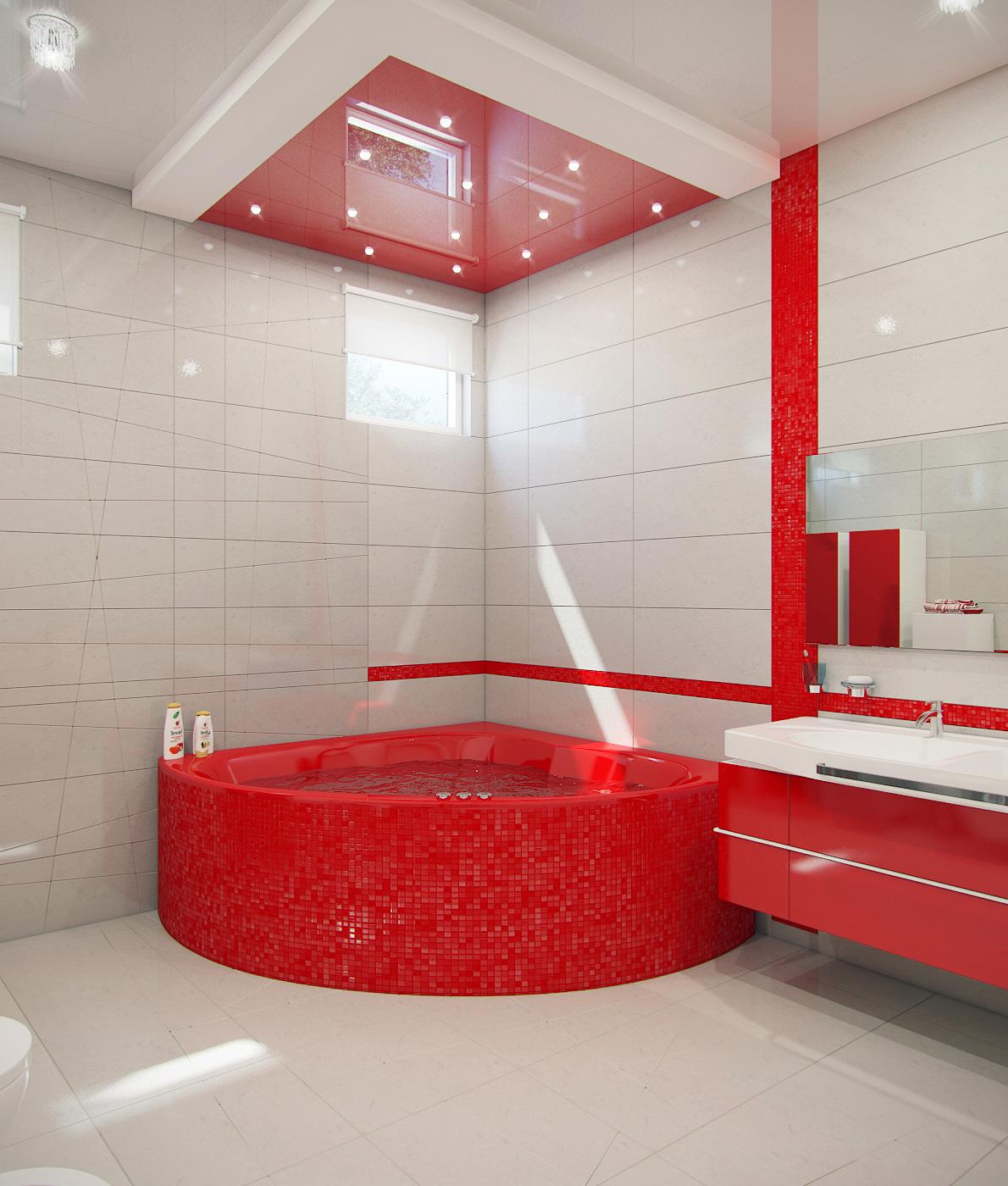 Красная сантехника в интерьере белой ванной комнаты