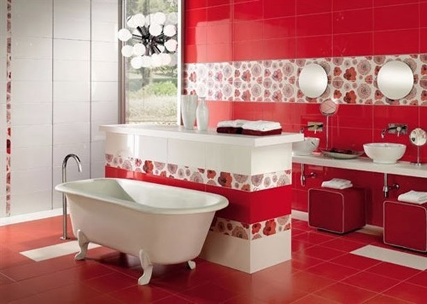 На фото красивая красно белая ванная комната отделана плиткой