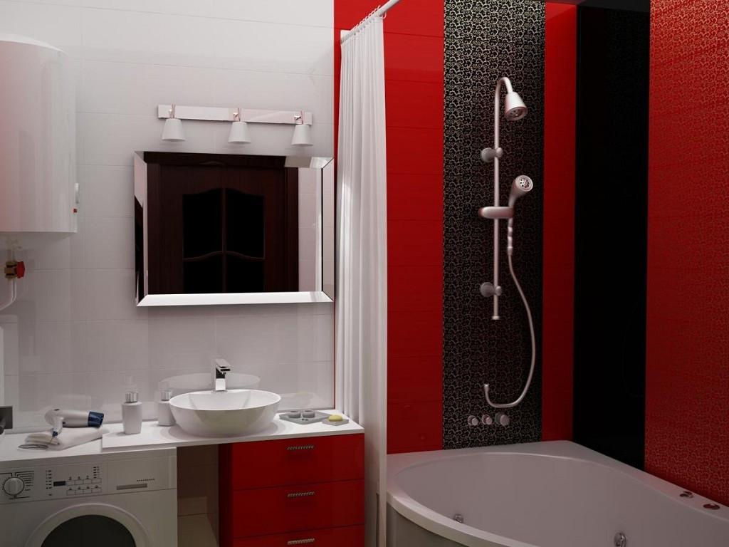 Дизайн черно-красной ванной комнаты