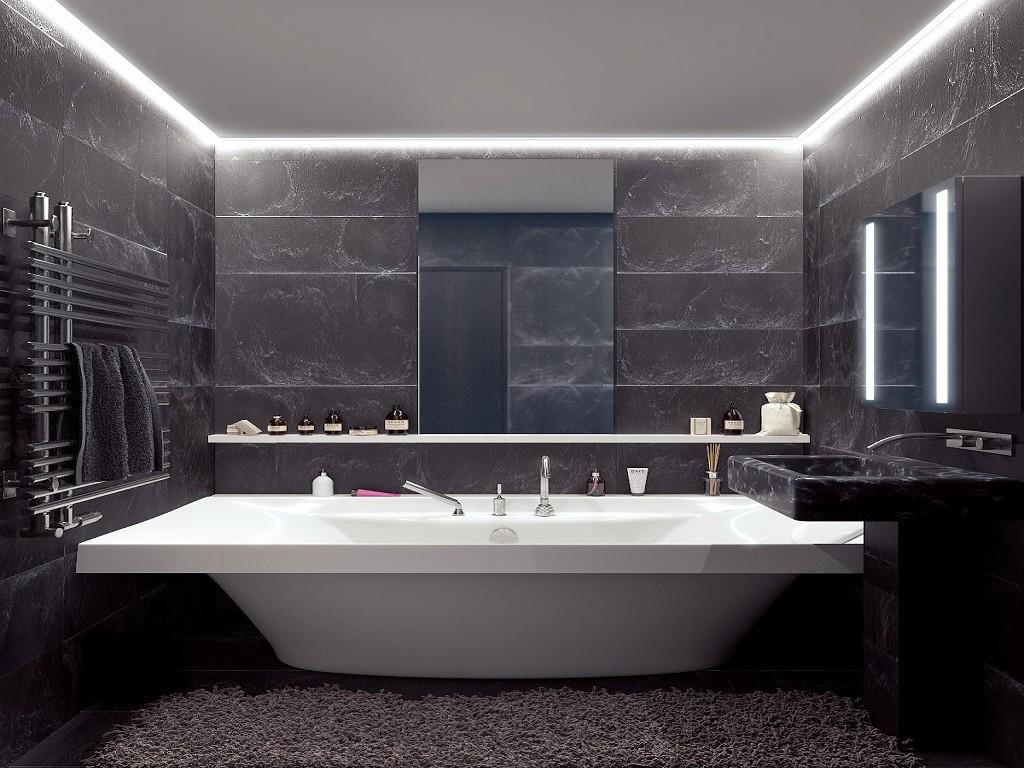 Темно-серая плитка в ванной комнате с белой ванной