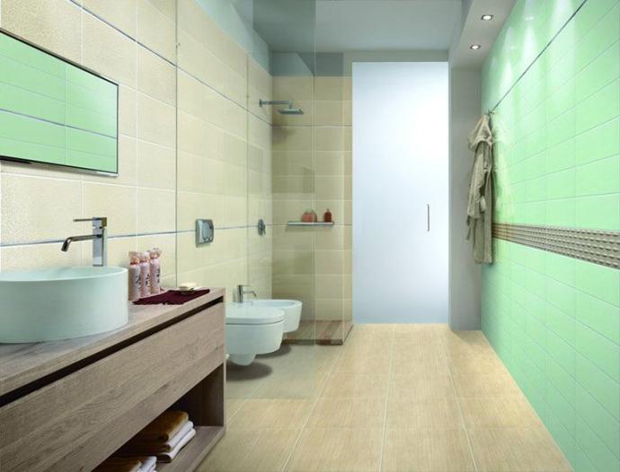Бирюзовая плитка в ванной. Производитель:   Marca Corona