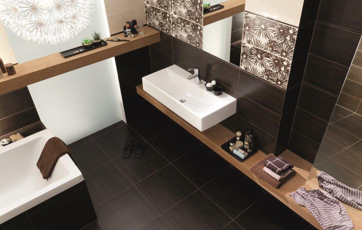 Ванная комната в темно-бежевых тонах