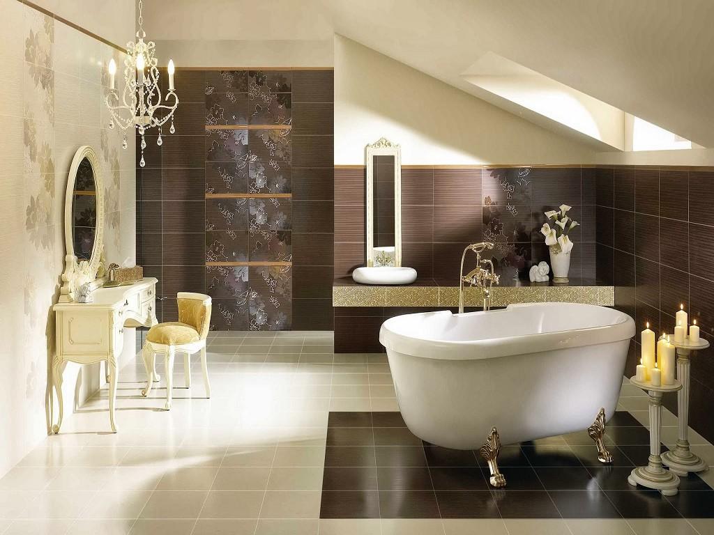 Темная и светлая плитка на стенах ванной
