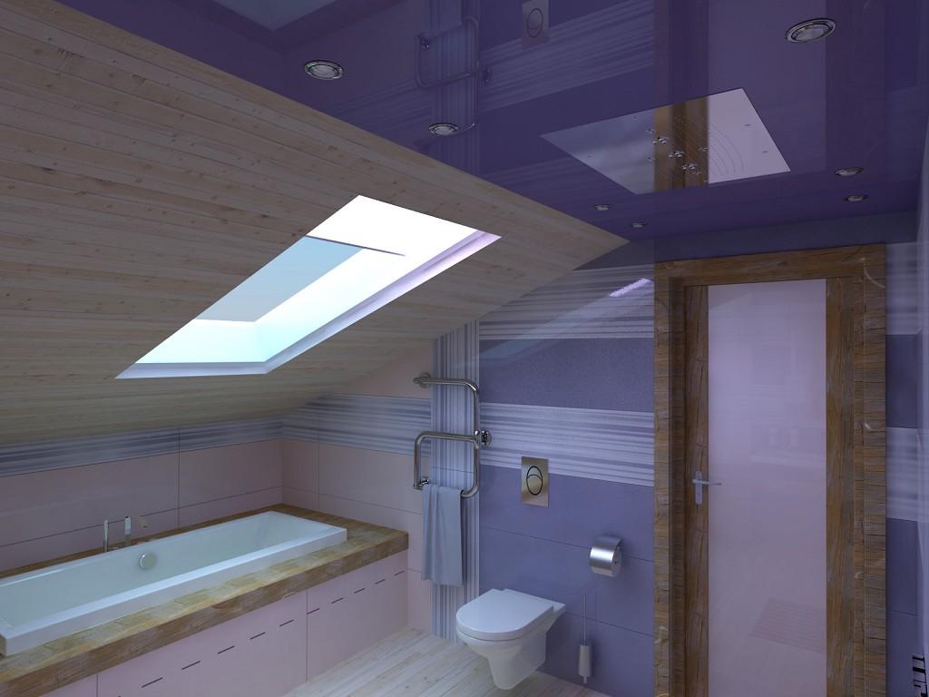 дизайн ванной комнаты в мансарде фото