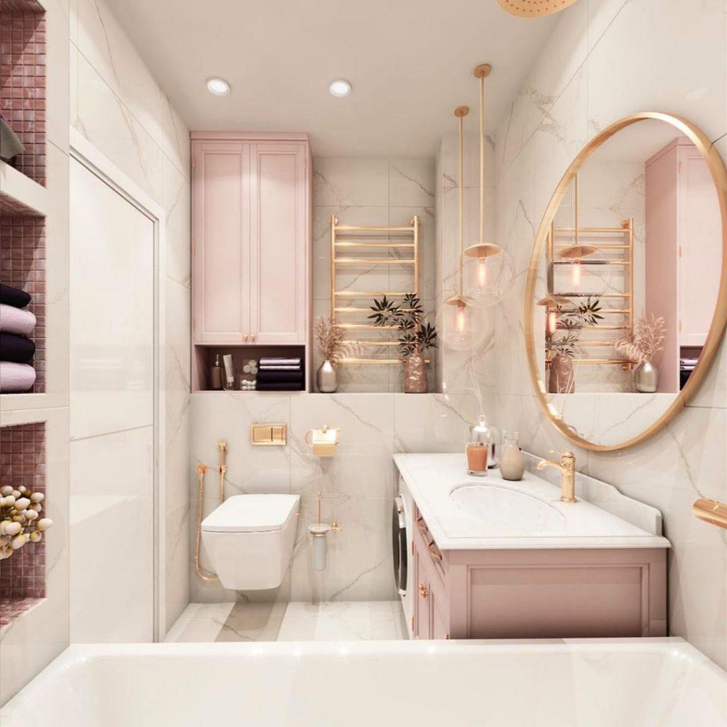 Ванная комната 4 к м в нежно-розовом цвете