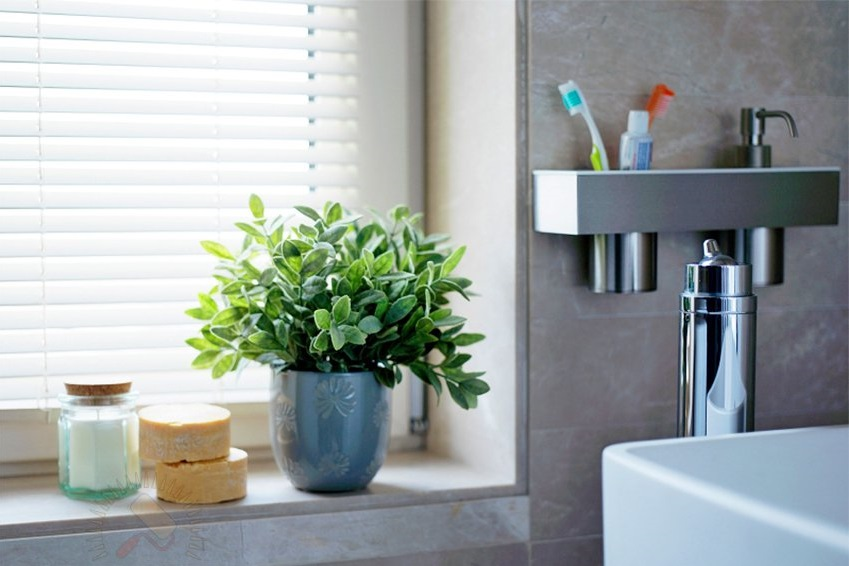 Живые цветы в вазоне в интерьере ванной комнате