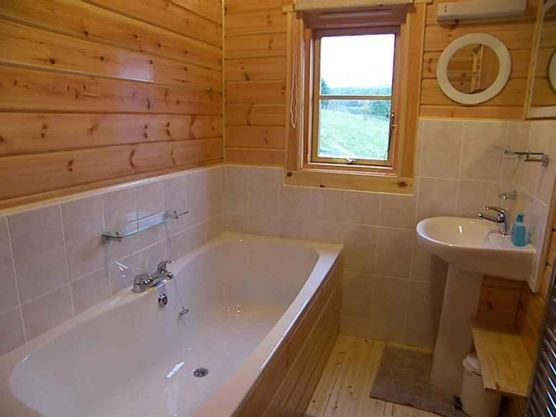 Вариант комбинированной отделки плитки и деревянных стен