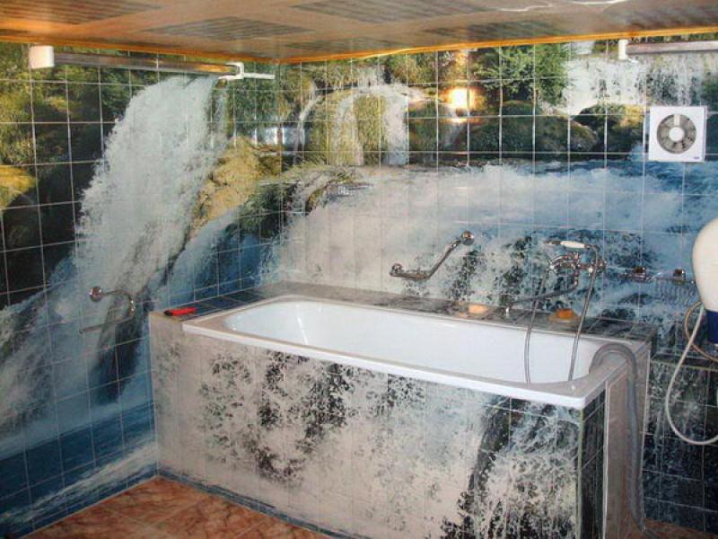 Отделка ванной фото-плиткой