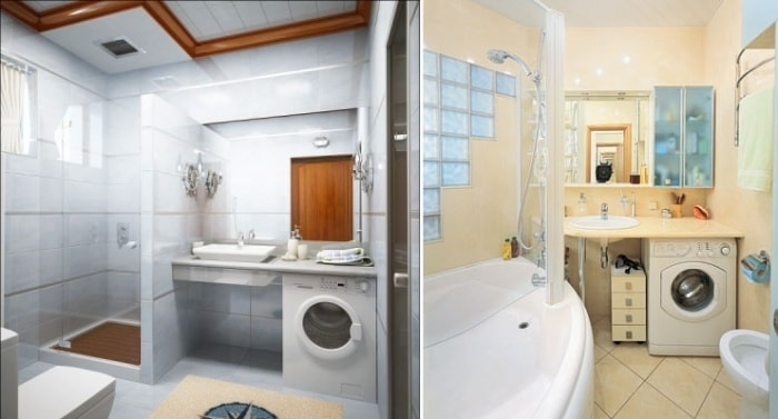 Совмещенный санузел с ванной дизайн со стиральной машиной