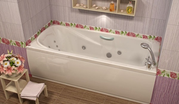 Фото: европейская прямоугольная ванна