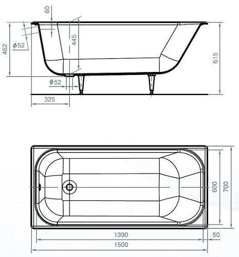 размеры ванны стандартные