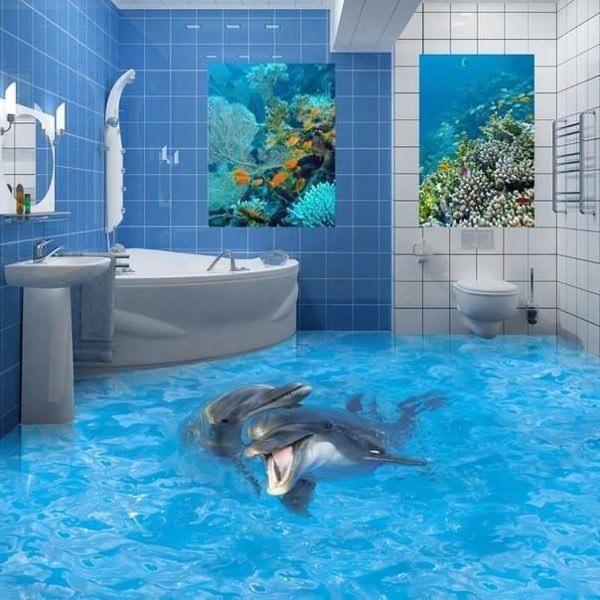 3d плитка в ванную на пол