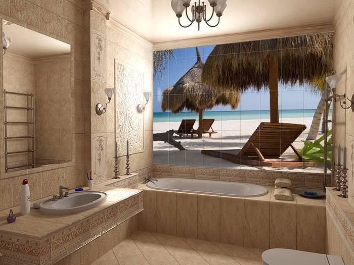 Фотоплитка в дизайне ванной комнаты