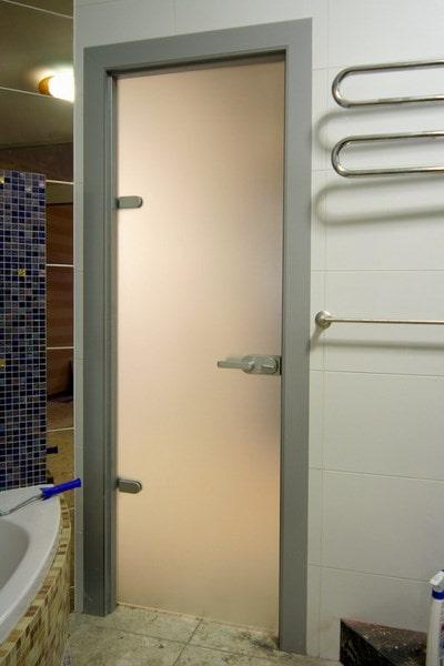двери в ванную и туалет из стекла