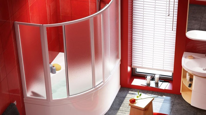 шторки для ванной пластиковые раздвижные