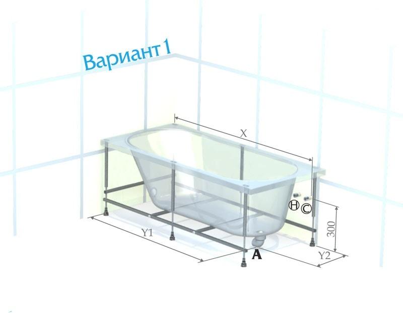 размеры ванной акриловой