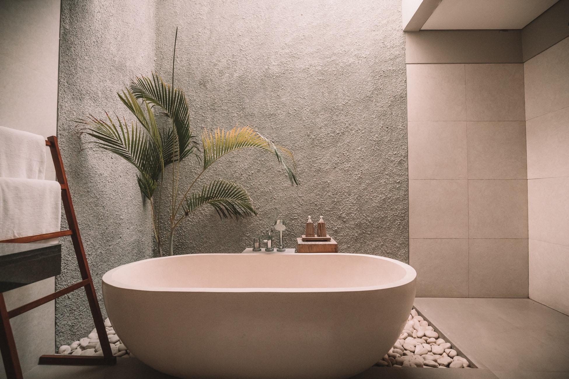 Ванная комната с камушками и растением