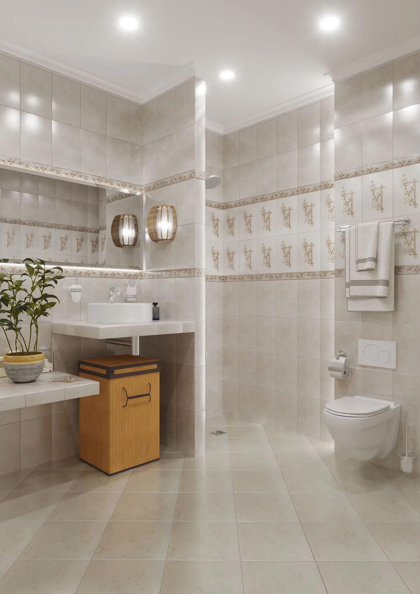 Ванная комната, облицованная плиткой полонез