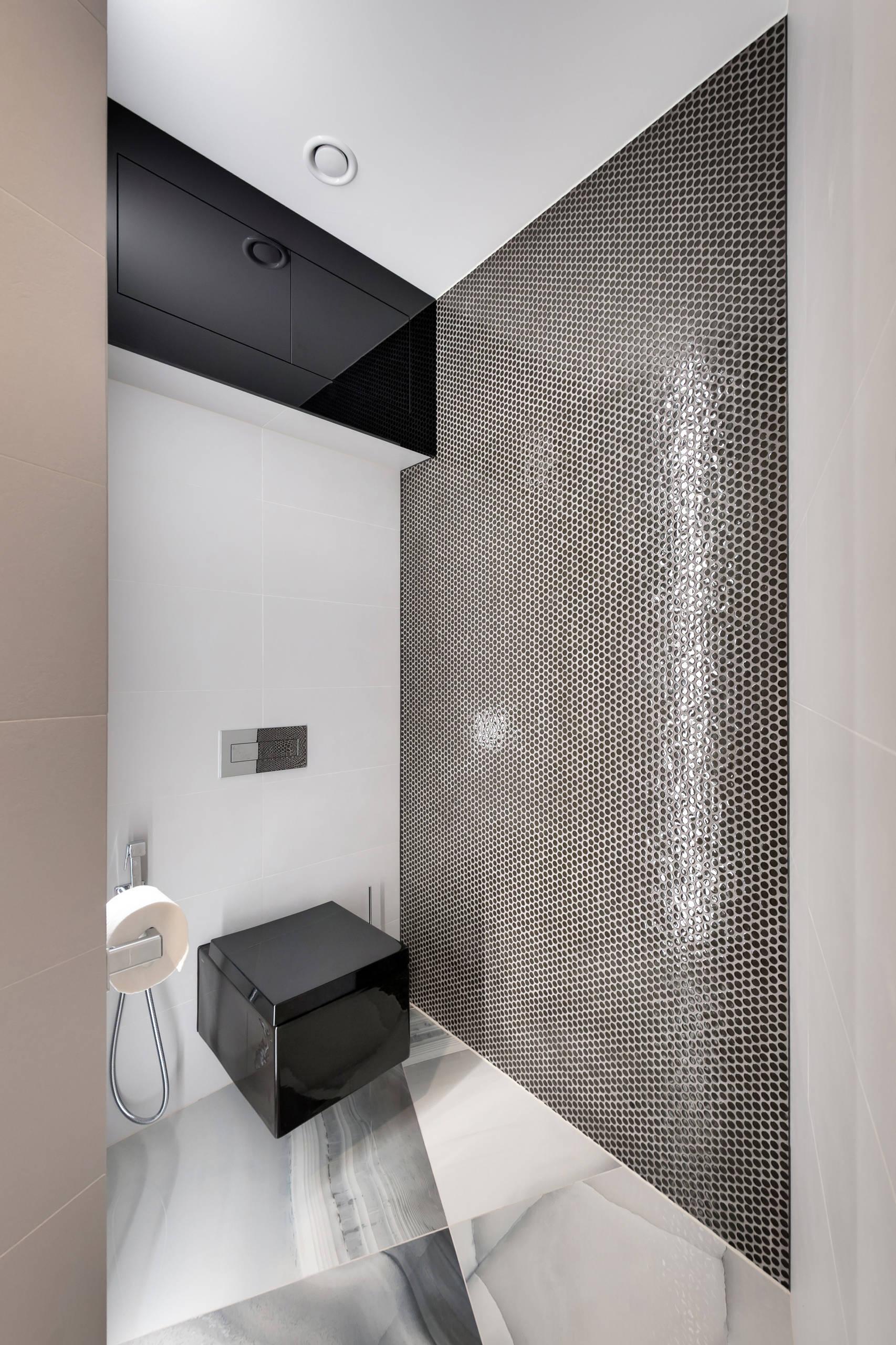 Маленький туалет в современном стиле с плоскими фасадами, инсталляцией, серой плиткой, серыми стенами, полом из керамогранита, подвесной раковиной и серым полом