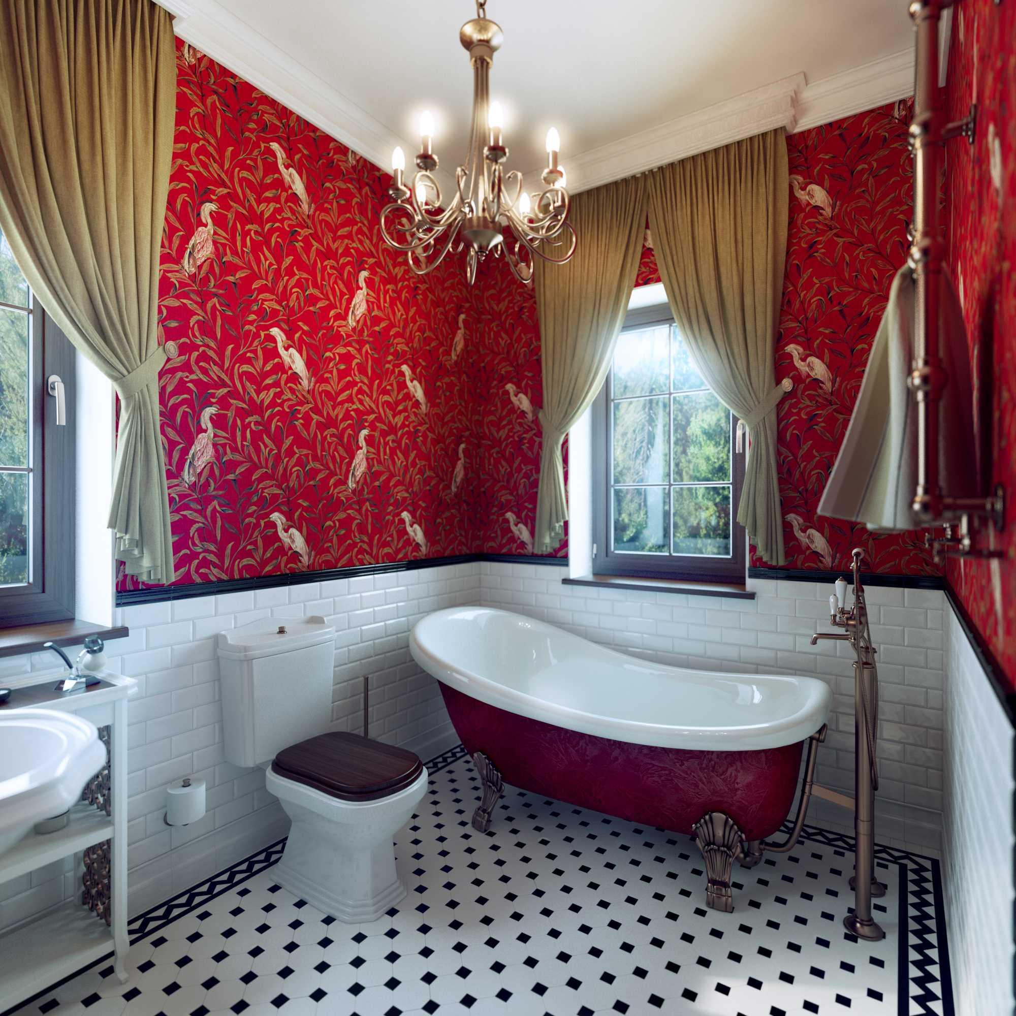 Красная ванная комната в китайском стиле