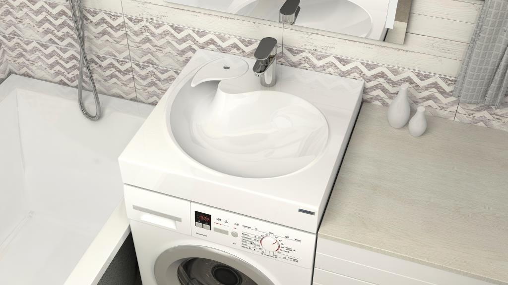 Раковина-кувшинка над стиральной машиной