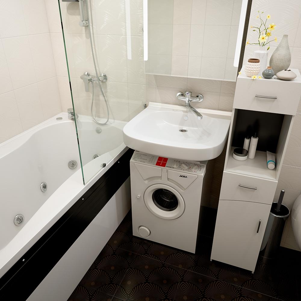 Раковина-кувшинка в ванной с черным полом, зеркало над раковиной