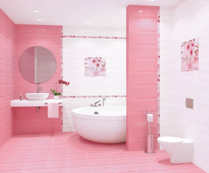 Ванная в нежно-розовых тонах